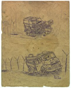 I did not have a camera, so I tore the cover off the logbook of the truck in the sketch and sat there and drew this quickly with a ballpoint pen. There were two trucks involved and some troops injured.