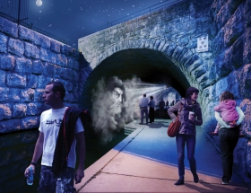 Studio Awards: Face the Mist, Waller Creek,  7th Street Bridge, Austin