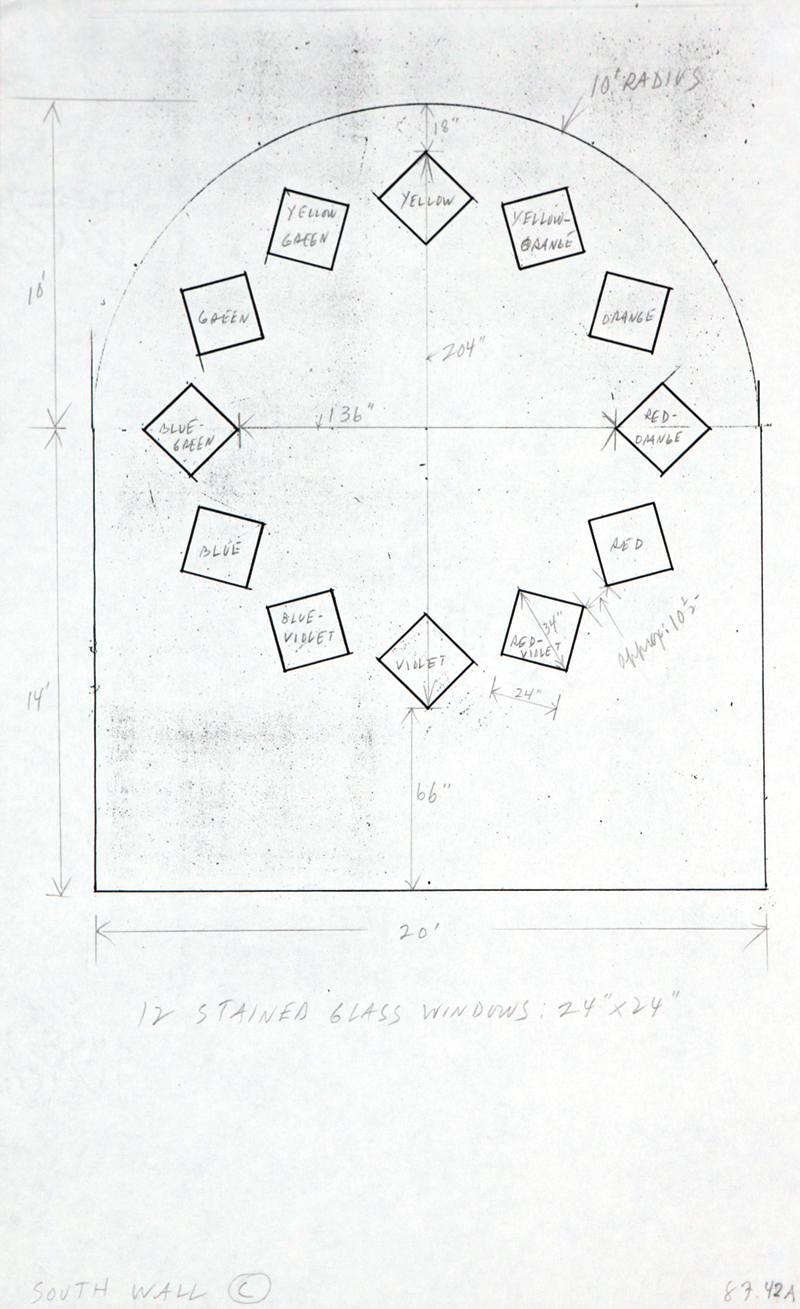 Study for Stained Glass Window, South Wall, Chapel, with dimensions