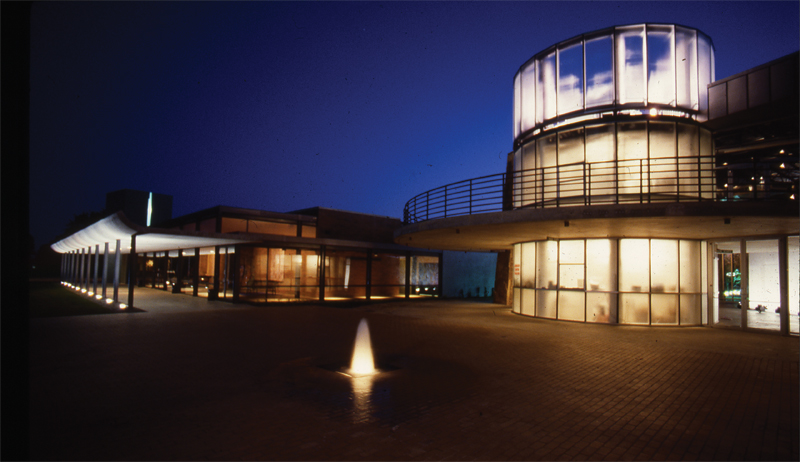 Addison Conference and Theatre Center_Exterior at Night - James F. Wilson