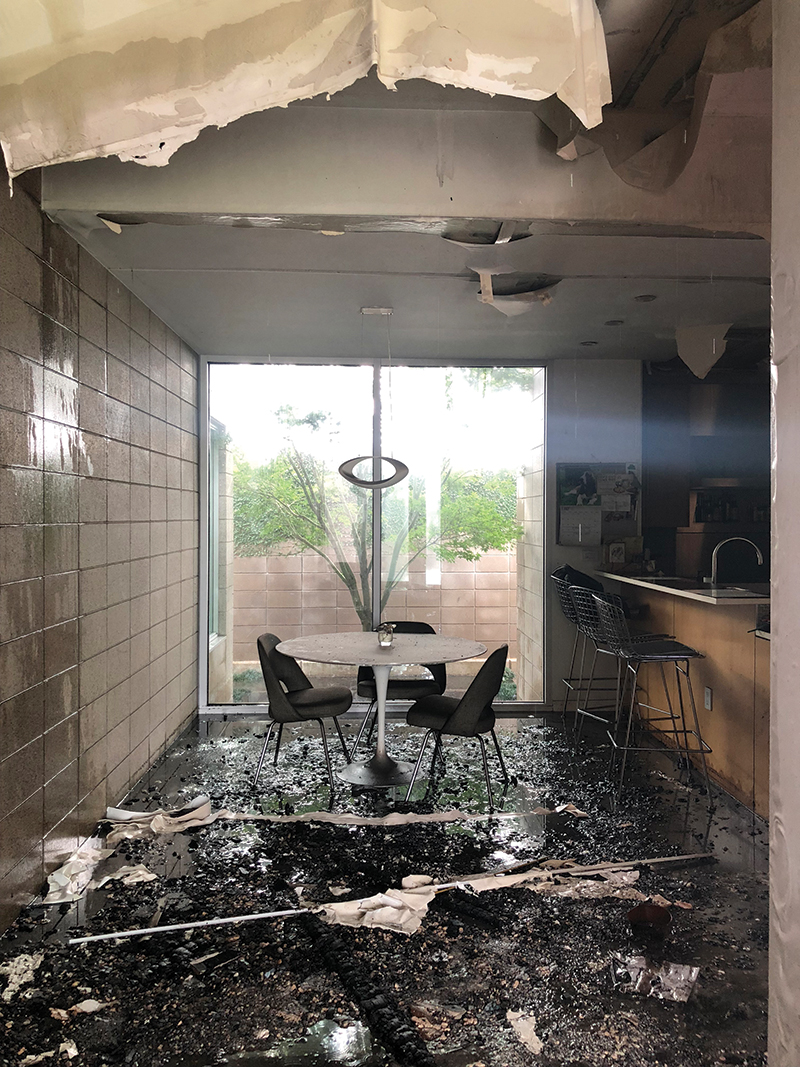 Meadowlake - Mark - Breakfast room and garden court day after fire