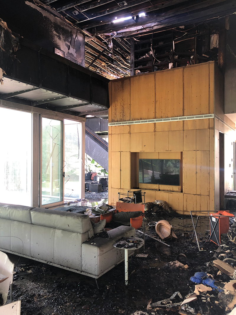 Meadowlake - Mark - Living room day after fire