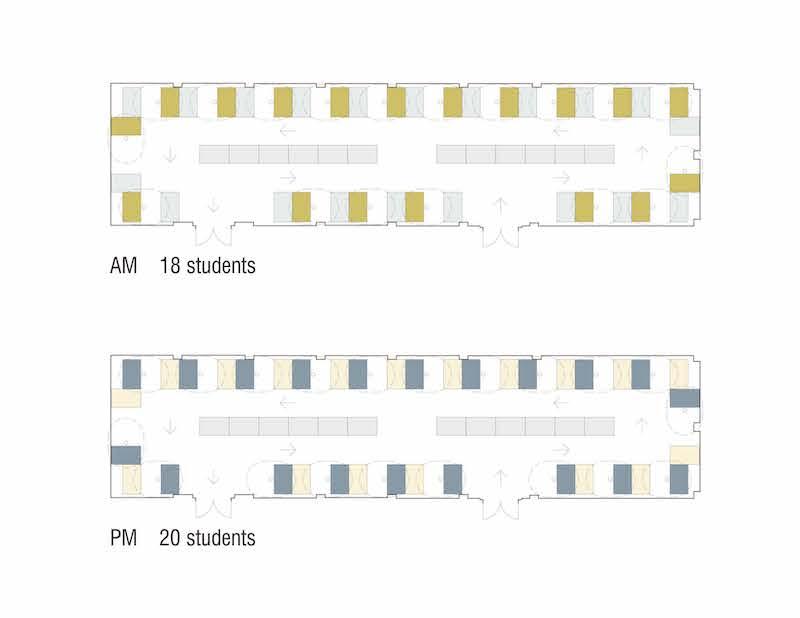 Prototypical distanced studio layout