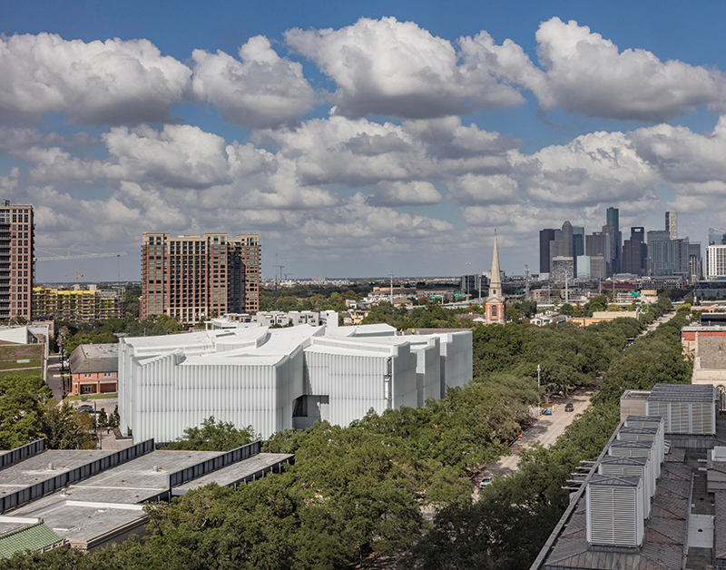 1. The Nancy and Rich Kinder Building at the Museum of Fine Arts, Houston, from above.