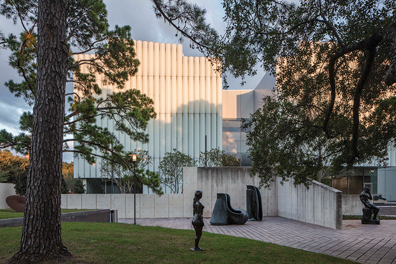 6. The Nancy and Rich Kinder Building as seen from the Museum of Fine Arts, Houston's sculpture garden.