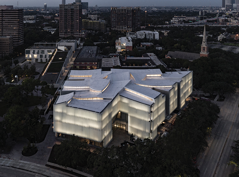 The Nancy and Rich Kinder Building at the Museum of Fine Arts, Houston, from above.