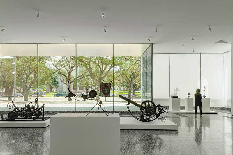 The Nancy and Rich Kinder Building at the Museum of Fine Arts, Houston, street-level gallery with works by Jean Tinguely.